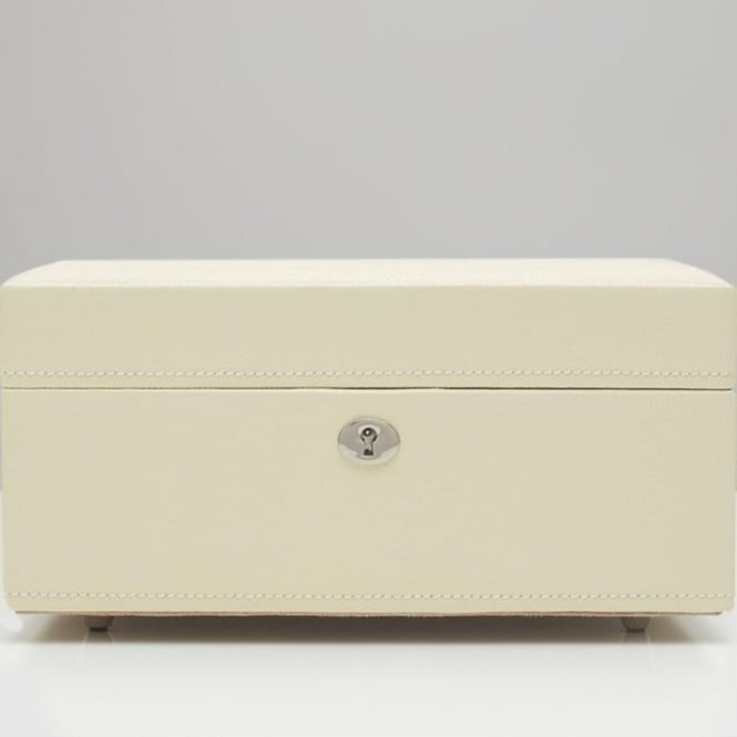 Wolf Designs London Cream Lizard Embossed Leather Square Jewellery Box
