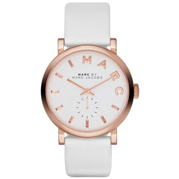 Mbm1283 Marc Jacobs Baker Rose Gold And White Leather Ladies Watch