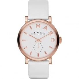 Marc Jacobs MBM1283 Baker Rose Gold & White Leather Ladies Watch