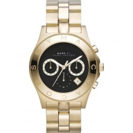 Marc Jacobs MBM3309 Blade Black & Gold Stainless Steel Chronograph Ladies Watch