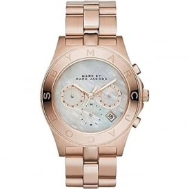 Marc Jacobs MBM8637 Mother of Pearl & Rose Gold Tone Stainless Steel Chronograph Ladies Watch