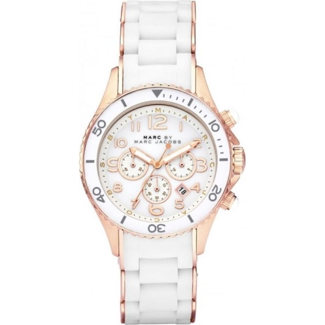 Marc Jacobs MBM2547 Rock Rose Gold & White Chronograph Ladies Watch