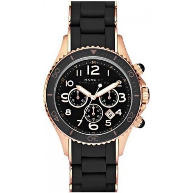Marc Jacobs MBM2553 Rock Rose Gold & Black Chronograph Mens Watch