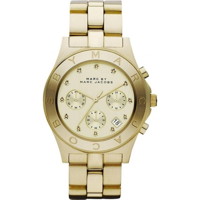 Marc Jacobs MBM3101 Blade IP Gold Stainless Steel Chronograph Ladies Watch