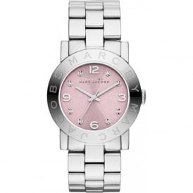 Marc Jacobs MBM3300 Amy Pink & Silver Stainless Steel Ladies Watch