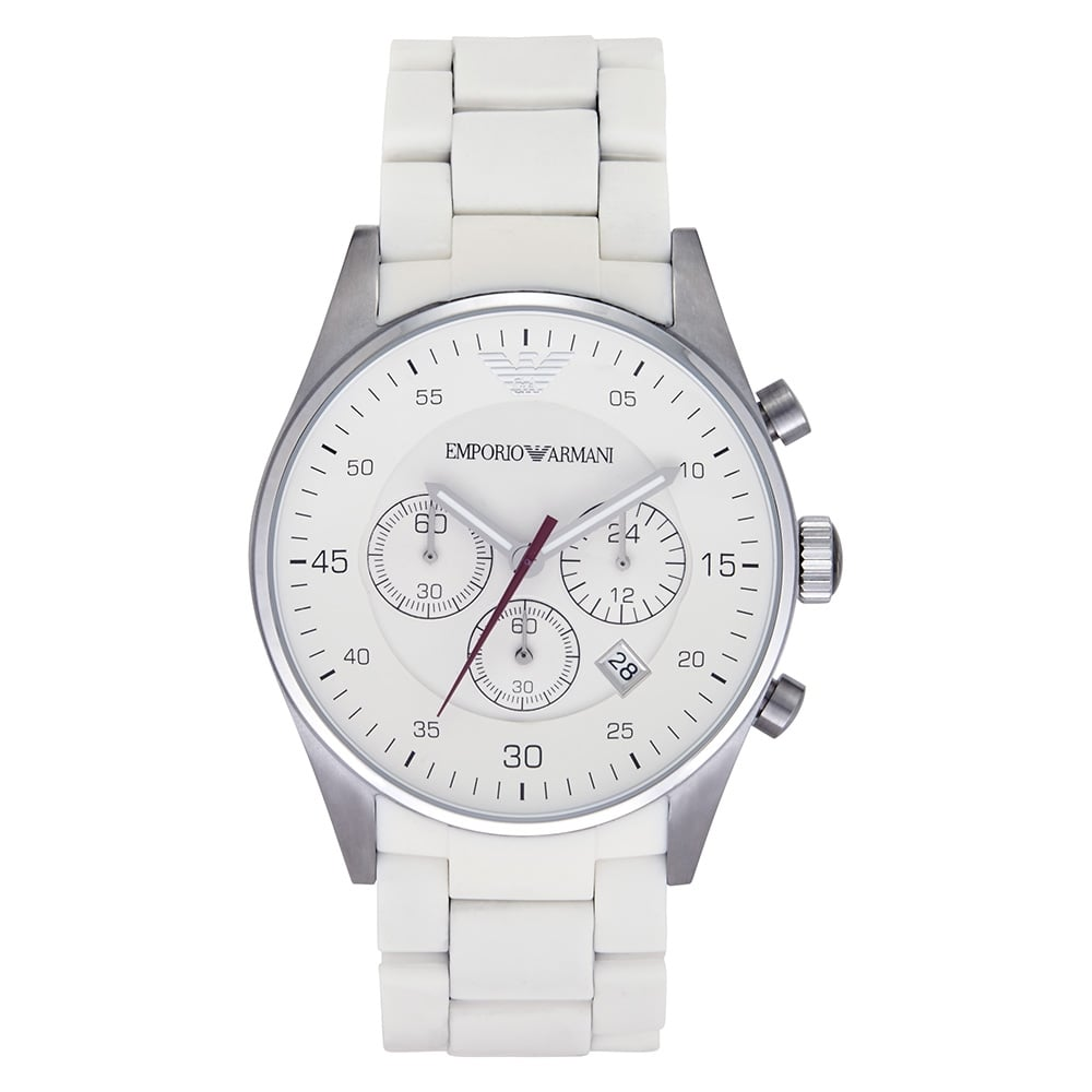 Emporio Armani mens white chronograph watch AR5859  b144d622d