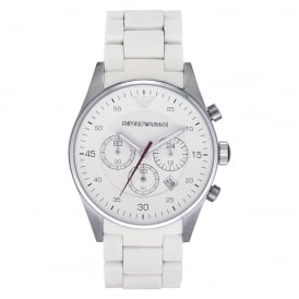 Mens White Chronograph Watch AR5859