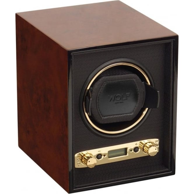 Wolf Designs Meridian Burlwood & Gold Single Watch Winder 2.7