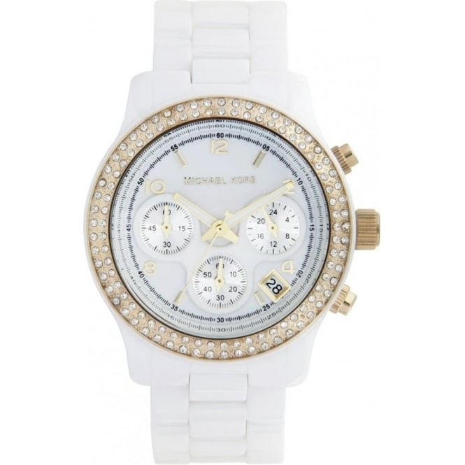 Michael Kors Watches Ladies Chronograph White Ceramic Watch MK5237