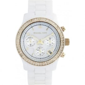 Ladies Chronograph White Ceramic Watch MK5237