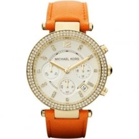Michael Kors Watches MK2279 Parker Gold & Orange Leather Chronograph Ladies Watch