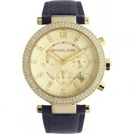 Michael Kors Watches MK2280 Ladies Gold & Navy Chronograph Watch