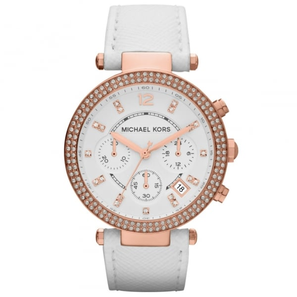 mk2281 michael kors gold and white leather
