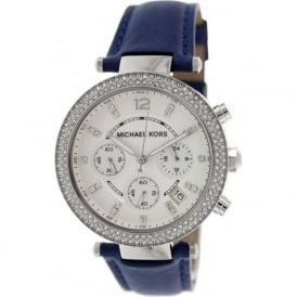 Michael Kors Watches MK2293 Parker Silver & Blue Leather Chronograph Ladies Watch