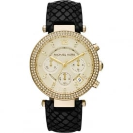 Michael Kors Watches MK2316 Gold & Black Leather Chronograph Ladies Watch