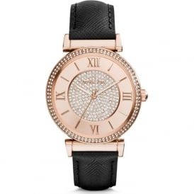 Michael Kors Watches MK2376 Catlin Rose Gold & Black Leather Ladies Watch
