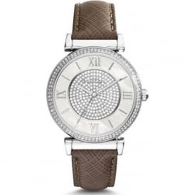 Michael Kors Watches MK2377 Catlin Silver & Grey Leather Ladies Watch