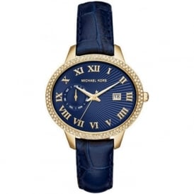 Michael Kors Watches MK2429 Whitley Gold & Blue Leather Ladies Watch