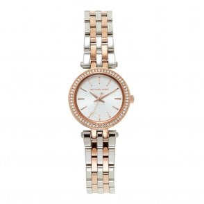 5694f7a15ca6 MK3298 Mini Darci Silver   Rose Gold Ladies Watch In Stock. Michael Kors ...