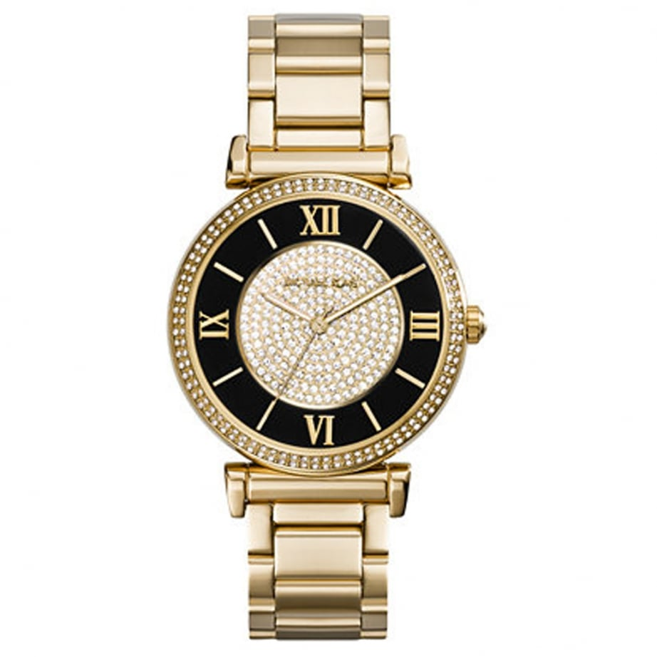 mk3338 michael kors black and gold stainless steel