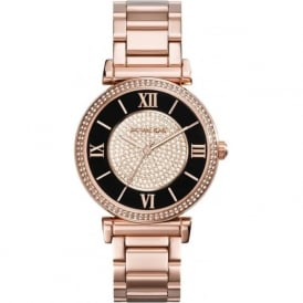 Michael Kors Watches MK3339 Catlin Black & Rose Gold Ladies Watch
