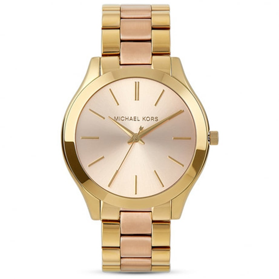 mk3493 michael kors slim runway two tone stainless steel