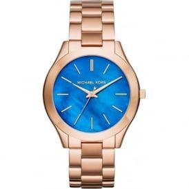 Michael Kors Watches MK3494 Slim Runway Blue Mother of Pearl & Rose Gold Stainless Steel Ladies Watch