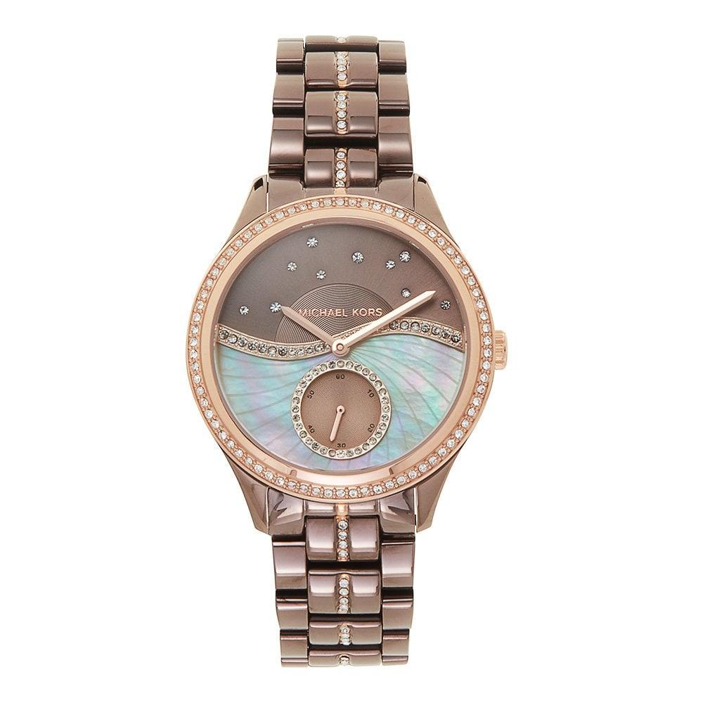 1a74fcd2ad7 Buy This Michael Kors MK3757 Lauryn Brown & Rose Gold Ladies Watch ...