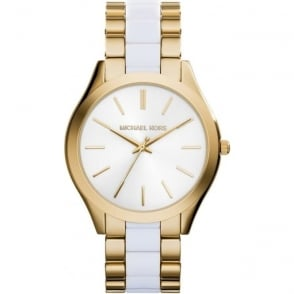 Michael Kors Watches MK4295 Slim Runway White & Gold Stainless Steel Ladies Watch