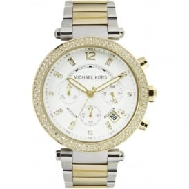 Michael Kors Watches MK5626 Ladies Silver & Gold Chronograph Watch