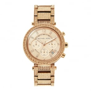 6da3ae20ea43 MK5663 Parker Rose Gold Glitz Ladies Chronograph Watch In Stock. Michael  Kors ...