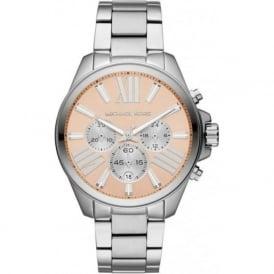 Michael Kors Watches MK5837 Wren Pink & Silver Stainless Steel Chronograph Ladies Watch