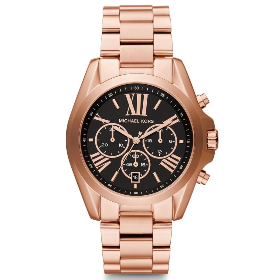 mk5854 michael kors rose gold and black chronograph watch