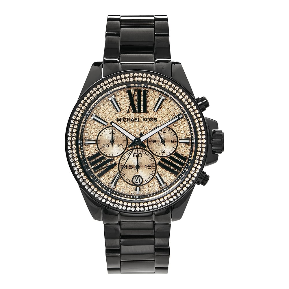 c7ed7cab7c12c MK5879 Michael Kors Rose Gold and Black Chronograph Ladies Watch ...