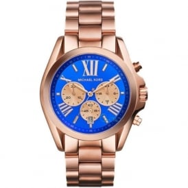 Michael Kors Watches MK5951 Bradshaw Blue & Rose Gold Chronograph Watch