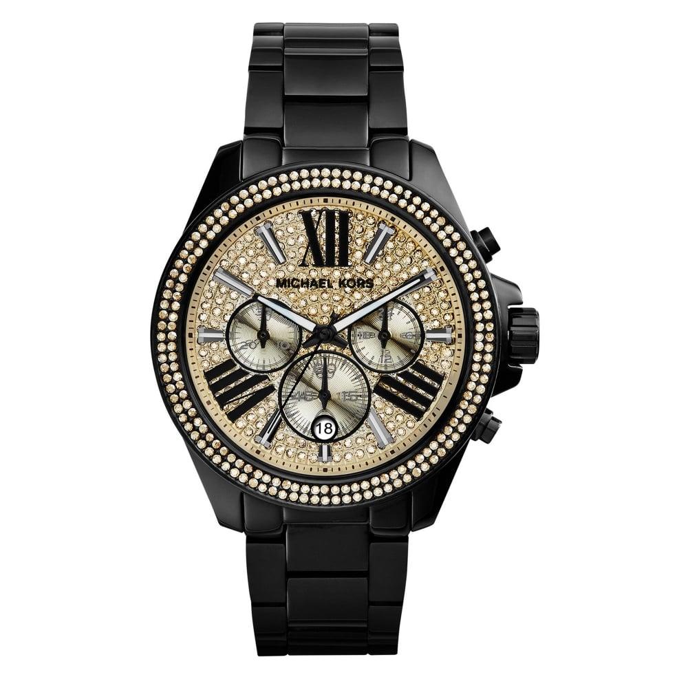 95ae9d303a7c Michael Kors Watches Michael Kors Watches MK5961 Wren Gold   Black Glitz  Stainless Steel Chronograph Ladies Watch