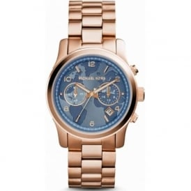 Michael Kors Watches MK5972 Runway Blue & Rose Gold Chronograph Watch