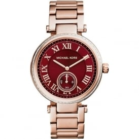 Michael Kors Watches MK6086 Skylar Red & Rose Gold Stainless Steel Ladies Watch