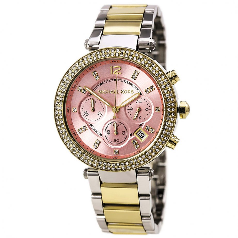 mk6140 michael kors two tone and pink chronograph