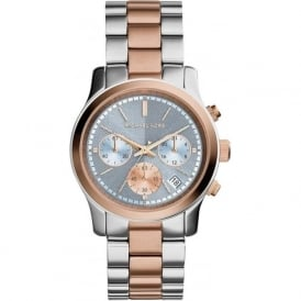 Michael Kors Watches MK6166 Silver & Rose Gold Chronograph Ladies Watch