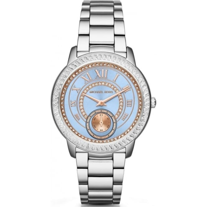815f1c9a0168 mk6286 michael kors madelyn blue and silver stainless steel ladies watch  available