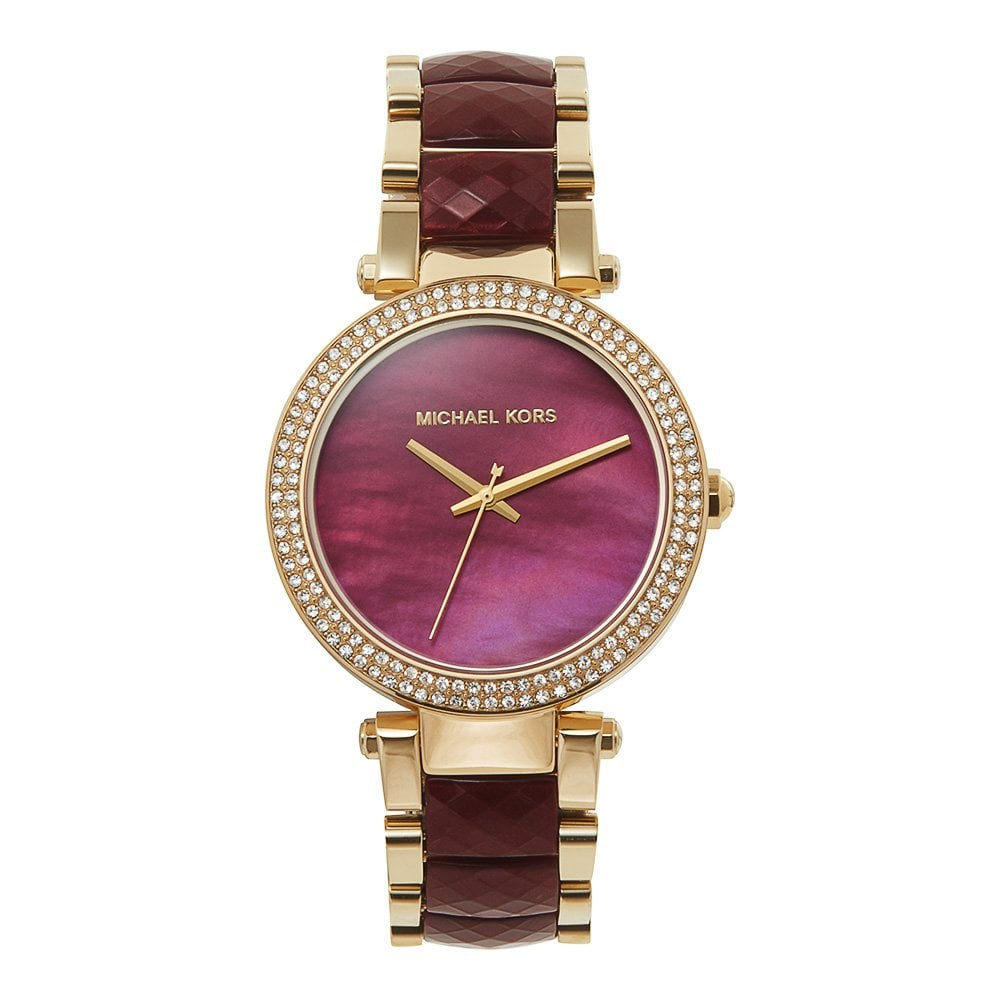 0c6c0ae11990 Michael Kors Watches Michael Kors Watches MK6427 Parker Gold   Deep Red  Stainless Steel Ladies Watch