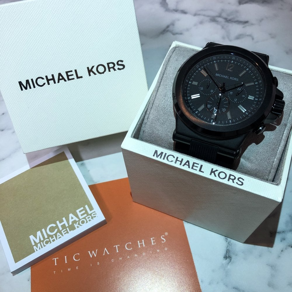 742b680a40cc Michael Kors MK8152 Dylan Black Chronograph Watch available at Tic ...