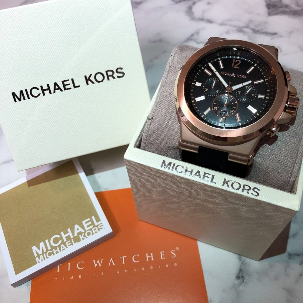 4e1458f7064d Michael Kors MK8184 Dylan Black Silicone Chronograph Watch available ...