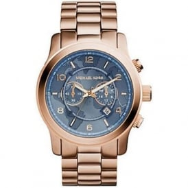 Michael Kors Watches MK8358 Runway Blue & Rose Gold Chronograph Watch