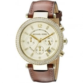 MK2249 Parker Gold & Brown Leather Chronograph Ladies Watch