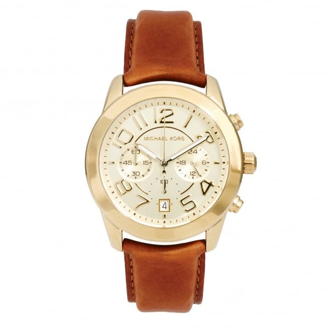 Michael Kors Watches MK2251 Mercer Gold & Brown Leather Ladies Chronograph Watch
