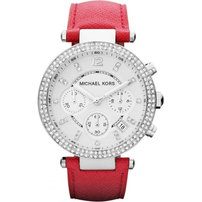 Michael Kors Watches MK2278 Parker Silver & Pink Leather Chronograph Ladies Watch