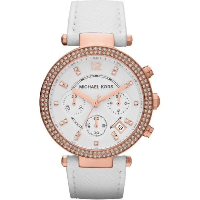 Michael Kors Watches MK2281 Parker Rose Gold & White Leather Chronograph Ladies Watch