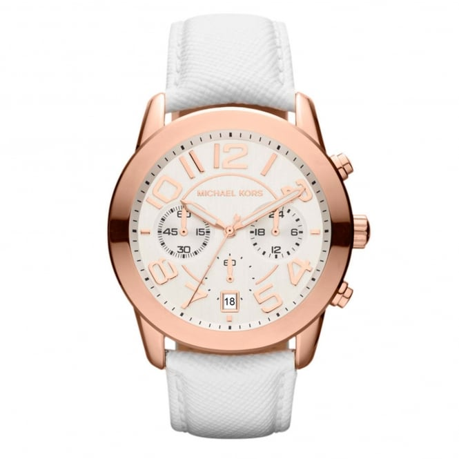 Michael Kors Watches MK2289 Mercer Rose Gold & White Leather Ladies Chronograph Watch